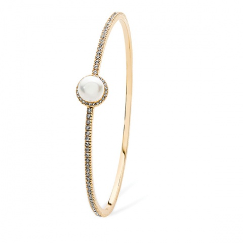 Tipperary Crystal Gold Crystal and Pearl Bangle
