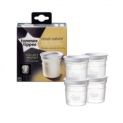Tommee Tippee Closer To Nature Breast Milk Storage  Pots 4's