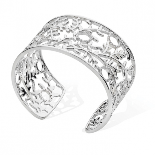 Tipperary Crystal Silver Vine Bangle With Diamante Circles