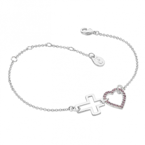 Tipperary Crystal Interlocking Heart & Cross Bracelet