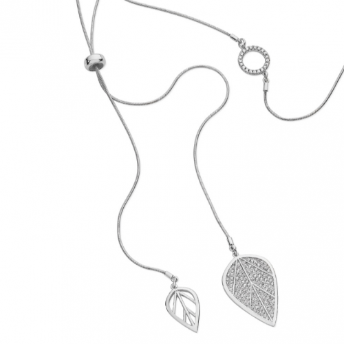 Tipperary Crystal Silver Pave Leaf Drop Pendant