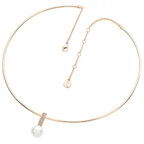 Tipperary Crystal Gold Wire Choker with Pearl & Crystal Pendant
