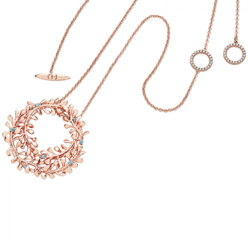 Tipperary Crystal Rose Gold Circle Vine Pendant With Blue Drops