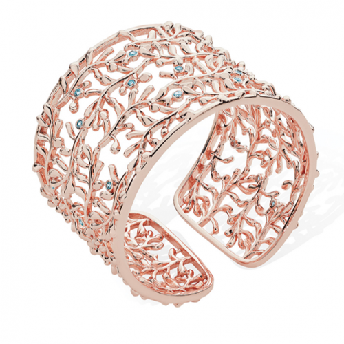 Tipperary Crystal Rose Gold Vine Cuff Bracelet With Light Blue Drops