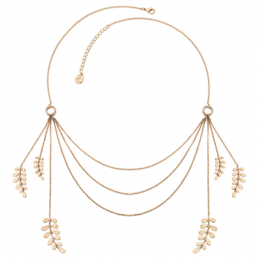Tipperary Crystal Champagne Gold Boho Leaf Statement Necklace