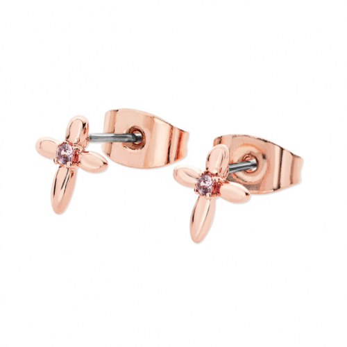 Tipperary Crystal Floral Cross Rose Gold Earrings