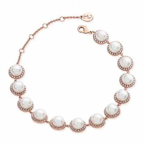 Tipperary Crystal Rose Gold 13 Crystal Circle Pearl Bracelet