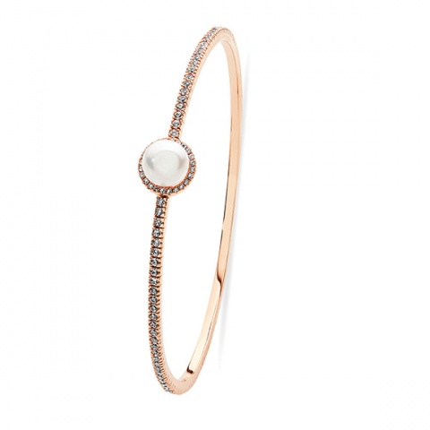 Tipperary Crystal Rose Gold Crystal and Pearl Bangle
