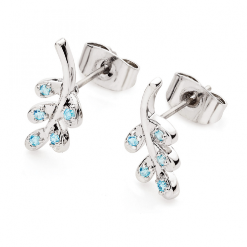 Tipperary Crystal Floating Leaf Blue Drop Studs Silver
