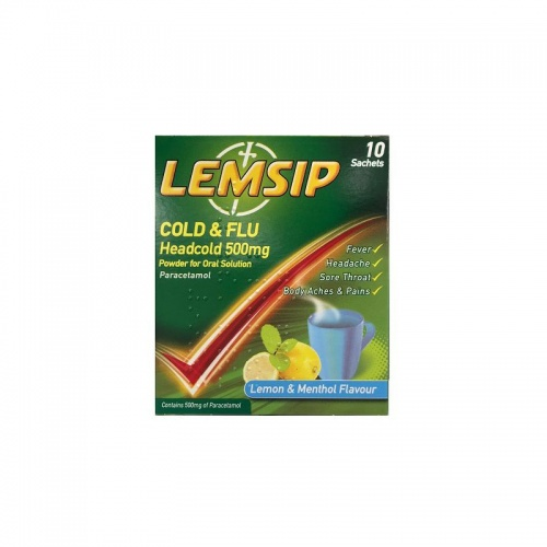 Lemsip Cold & Flu Headcold Lemon & Menthol 500mg 10 Sachets