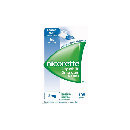 Nicorette Icy White 2mg Sugar Free Gum 105 Pack