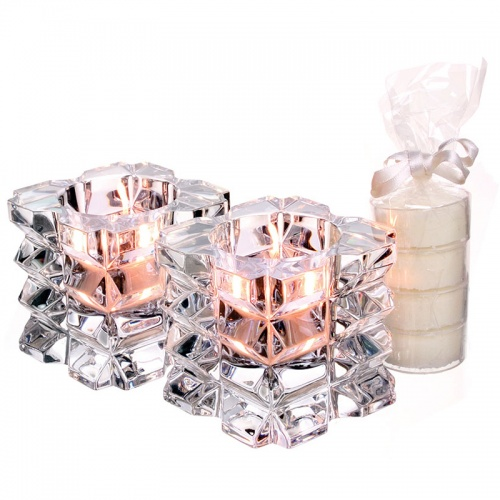 Tipperary Crystal Skellig T-Light Pair With Set of 4 Candles