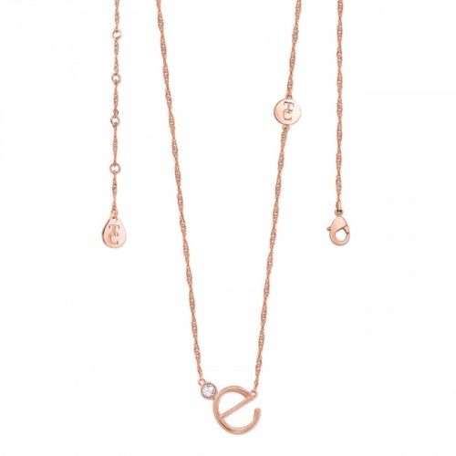 Tipperary Crystal Letter 'E' Pendant Rose Gold