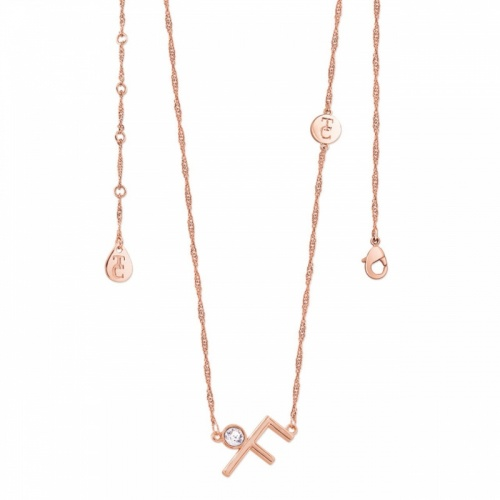Tipperary Crystal Letter 'F' Pendant Rose Gold