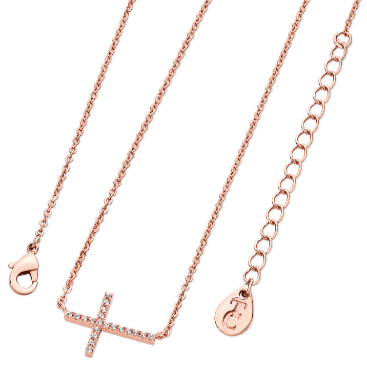 Tipperary Crystal Rose Gold Cross Necklace