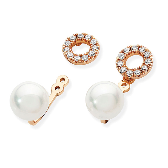 Tipperary Crystal Gold Pearl Stud Earrings With Crystal Circle Jackets