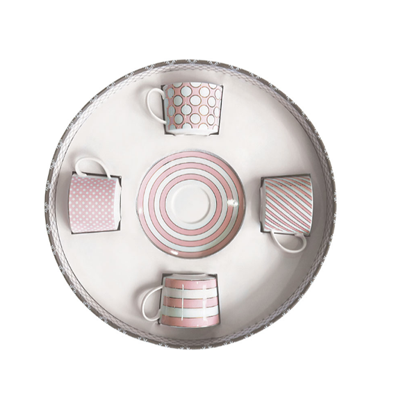 Tipperary Crystal Set Of 4 Cappuccino Cups Spots & Stripes Pink