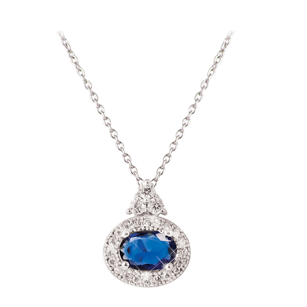 Tipperary Crystal Silver Oval Sapphire Pendant