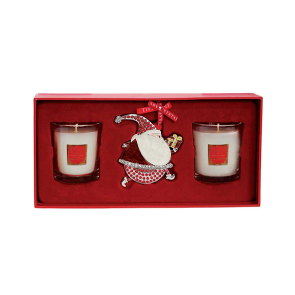 Tipperary Crystal 2 Christmas Berries Candles and Decoration Gift Set