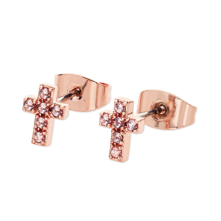 Tipperary Crystal  Pink CZ Cross Stud Earrings Rose Gold