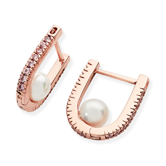 Tipperary Crystal Rose Gold Horse Shoe Pearl Earrings