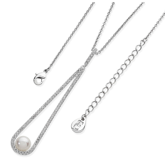 Tipperary Crystal Silver Long Crystal Cradle Pearl Drop Pendant