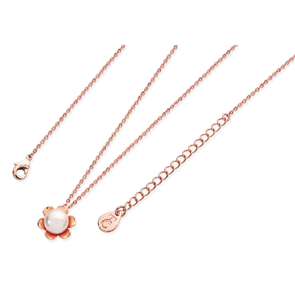 Tipperary Crystal Rose Gold Flower Pearl Pendant
