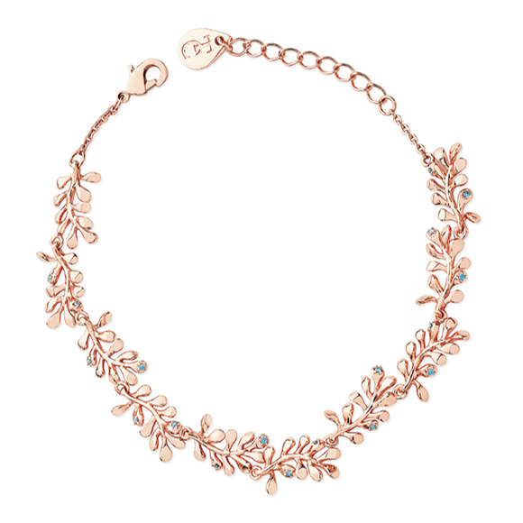 Tipperary Crystal Rose Gold Circle Vine Bracelet With Blue Drops
