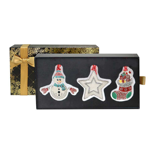 Tipperary Crystal Set of Three Sparkle Christmas Decorations (Black & Gold Gift Set)