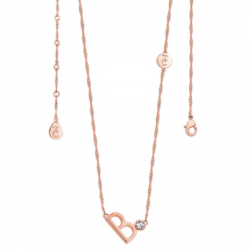 Tipperary Crystal Letter 'B' Pendant Rose Gold