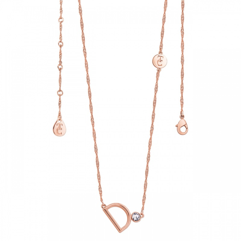 Tipperary Crystal Letter 'D' Pendant Rose Gold