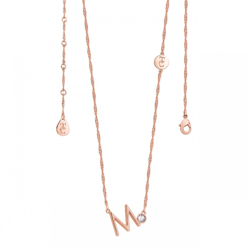 Tipperary Crystal Letter 'M' Pendant Rose Gold