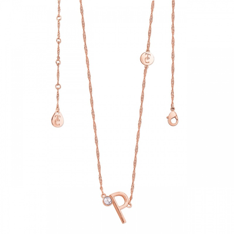 Tipperary Crystal Letter 'P' Pendant Rose Gold