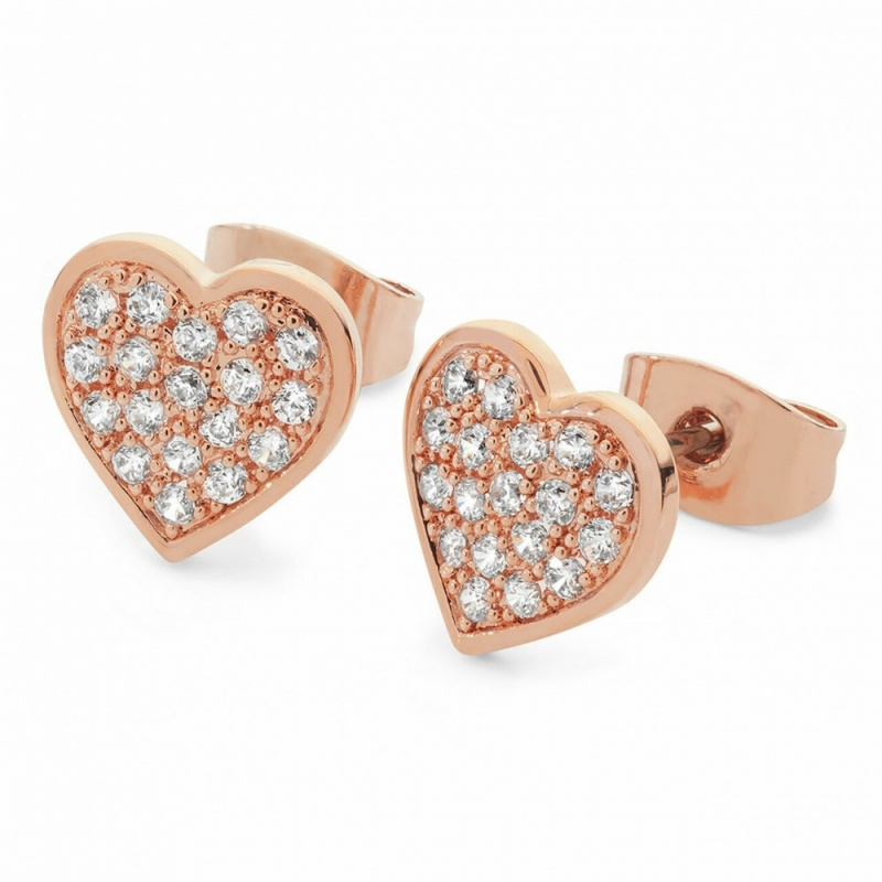 Tipperary Crystal Pavé Heart Earrings Rose Gold