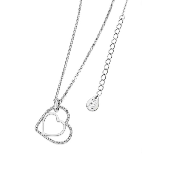 Tipperary Crystal Floating Heart Pendant Silver