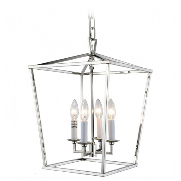 Tipperary Crystal Hampton Four Bulb Silver Lantern