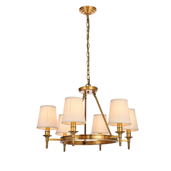 Tipperary Crystal Montauk Six Arm Brass Chandelier
