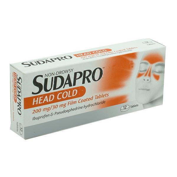 Sudapro Head Cold 200mg/30mg 12 Film Coated Tablets