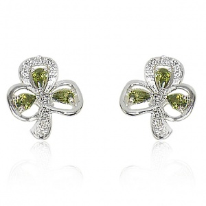 Tipperary Crystal Maureen O'Hara Silver Shamrock Earrings