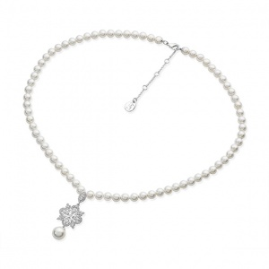 Tipperary Crystal Silver Ornamental Crystal Drop String Pearl Necklace