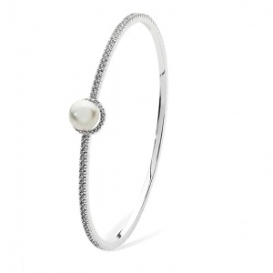 Tipperary Crystal Silver Crystal and Pearl Bangle