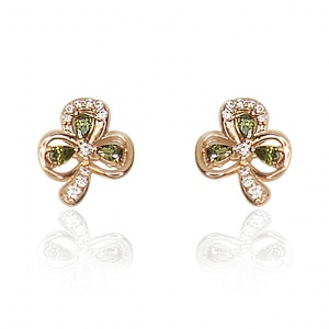 Tipperary Crystal Maureen O'Hara Rose Gold Shamrock Earrings