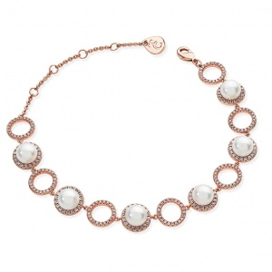 Tipperary Crystal Rose Gold Crystal Open Circle Link & Pearl Bracelet
