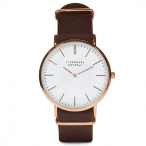 Tipperary Crystal Classic Watch - Dark Brown Leather Strap
