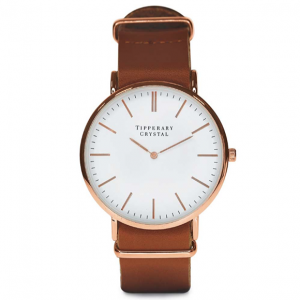 Tipperary Crystal Classic Watch - Light Brown Leather Strap