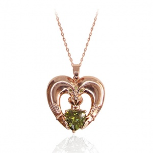 Tipperary Crystal Maureen O'Hara Rose Gold Claddagh Pendant