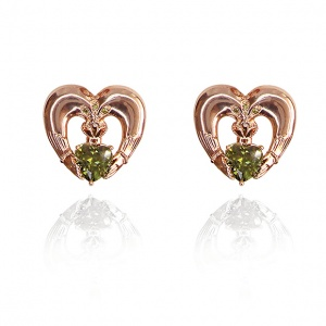 Tipperary Crystal Maureen O'Hara Rose Gold Claddagh Earrings
