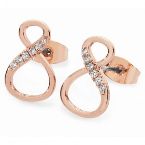 Tipperary Crystal 8 Shape Infinity Stud Earrings Rose Gold