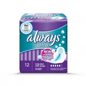 Always Ultra Long Plus with Wings Sanitary Towels 12 Pack