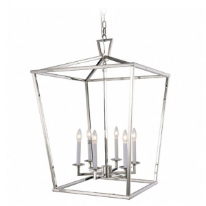 Tipperary Crystal Hampton Six Bulb Silver Lantern